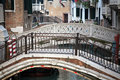 Bridges of venice several over canal in closeup Royalty Free Stock Image