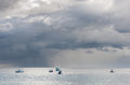 BRIDGETOWN, BARBADOS - MARCH 11, 2014: Caribbean Sea with Boats Royalty Free Stock Photo