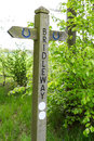 Bridleway sign a wooden in the english countryside Stock Image