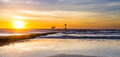 Bridlington south beach by dawn in september Stock Image