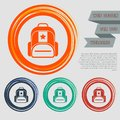 Briefcase, case, bag icon on the red, blue, green, orange buttons for your website and design with space text. Royalty Free Stock Photo