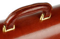 Briefcase details handle of ginger expensive leather closeup with gold Royalty Free Stock Photography