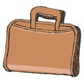 Briefcase hand drawn cartoon sketch illustration of Stock Image