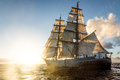Brigg sailing into the sunset