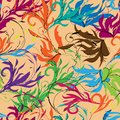 Bright abstract background, oriental ornament. Floral colorful print hand drawn elements on broun