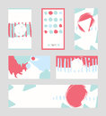 Bright abstract business cards, hand drawn with brush and stripes, brush blobs and smears. Pink, teal, blue accents. Vector illust Royalty Free Stock Photo