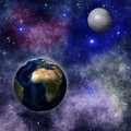 Bright abstract celestial landscape with planets collage on the background of space Stock Photo