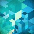 Bright abstract cubes blue vector background grid Stock Photography