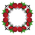 Bright abstract pattern, a wreath of roses.