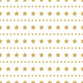 Bright abstract white modern seamless pattern with golden stars and polka dot lines