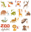 Bright Alphabet set letters with cute animals Stock Image