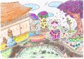 Bright attractive cartoon pink bunny rabbit with animal friends together in Japan