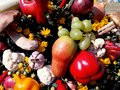 Bright autumn composition of fruits and vegetables Royalty Free Stock Photo