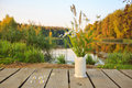 Bright autumn field bouquet of flowers in the hand-made ceramic vase at a bridge on the pond/lake. Autumn wood on the background Royalty Free Stock Photo