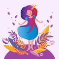 Bright autumn vector illustration. Happy girl walking and dancing in the autumn in the forest among the autumn leaves
