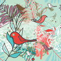 Bright background abstract seamless pattern with birds and flowers Stock Photos
