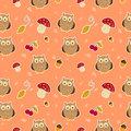 Bright background with owls,Seamless pattern.
