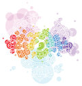 Bright background with white mandala on colorful transparent circle blobs.