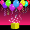 Bright balloons, ribbons and magic gift box with spangles and flashes
