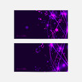 Bright banner or card template in musical theme. Lilac and viol Royalty Free Stock Photo