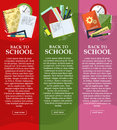 Bright banners back to school with folders, books and notebooks with place for your text. Vector Royalty Free Stock Photo