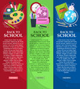Bright banners back to school with schoolbag, globe, books and stationery with place for your text. Vector Royalty Free Stock Photo