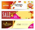 Bright banners on light, orange and yellow backgrounds. Set hori Royalty Free Stock Photo