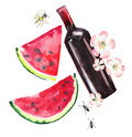 Bright beautiful abstract graphic lovely wonderful cute delicious tasty yummy summer picnic set includes bottle of red wine, slice