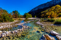 Bright Beautiful Fall Foliage on the Crystal Clear Frio River in Texas. Royalty Free Stock Photo