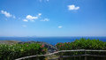 Bright beautiful panoramic views of the Libyan Mediterranean sea on the southern coast of Crete from the monastery of Preveli. Royalty Free Stock Photo