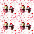 Bright beautiful tender delicious tasty chocolate yummy summer dessert cupcakes with red cherry strawberry on red pink spray