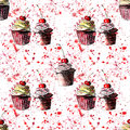 Bright beautiful tender delicious tasty chocolate yummy summer dessert cupcakes with red cherry strawberry on red pink spray water Royalty Free Stock Photo