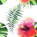Bright beautiful tender sophisticated lovely tropical hawaii floral summer pattern of a tropic hibiscus and green palm leaves wate Royalty Free Stock Photo