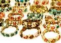 Bright and beautifully jeweled bracelets large gold crystalized Royalty Free Stock Image