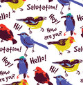 Bright birds greetings seamless pattern wallpaper. Royalty Free Stock Photo