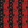 Bright black and red floral seamless pattern with tulips