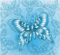 Bright blue butterfly and decorative grungy background Stock Photography