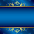 Bright blue card with floral gold decorations vector eps Royalty Free Stock Photography