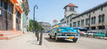 Bright blue convertible 1960`s Chevrolet taxi in Havana street. Royalty Free Stock Photo