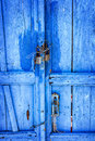 Bright blue door image of on santorini greece Stock Photo