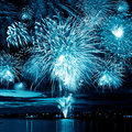 Bright blue firework Royalty Free Stock Photography