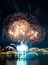 Bright blue and golden fireworks | Quebec City Royalty Free Stock Photo