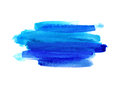 Bright blue watercolor blot on white background