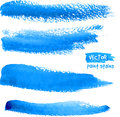 Bright blue watercolor brush vector strokes realistic Royalty Free Stock Photo