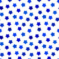 Bright blue watercolor stars background can be copied without any seams hand drawing vector illustration painted shapes design Royalty Free Stock Images