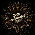 A bright burst of festive lights. Glow effect. Festive New Year`s salute. Golden fireworks. Royalty Free Stock Photo
