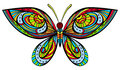 Bright butterfly colored in art nouveau style like stained glass body is isolated on white Stock Photography
