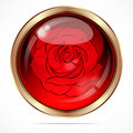 Bright button with a red rose flower. Stock Images
