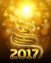 Bright card for Christmas and New Year. Christmas tree made of deposits, flare stars. The bright glow for 2017. Vector illustratio Royalty Free Stock Photo