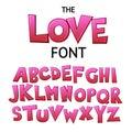 Bright cartoon colorful comic graffiti doodle font, love alphabet. Vector illustration
